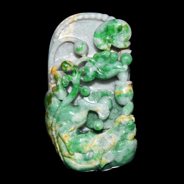 A Jadeite Relief Carved Qilin with Ruyi Pebble 翡翠镂雕螭龙戏珠如意把玩