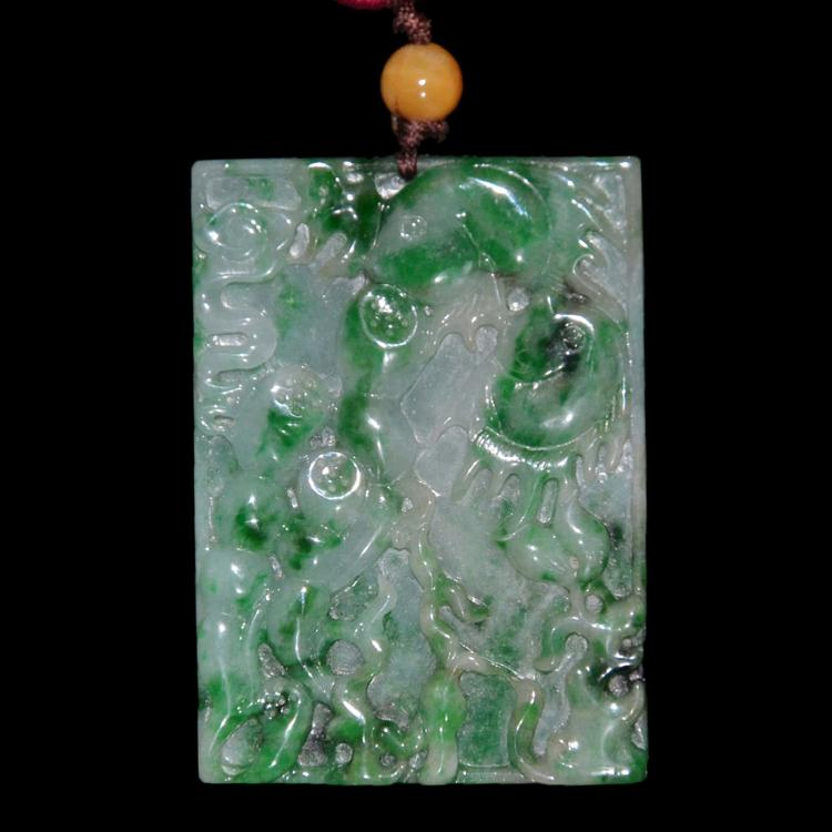 Relief Carved Jadeite Pendant of Fish and Flowers 精美浮雕游鱼花卉玉牌挂饰