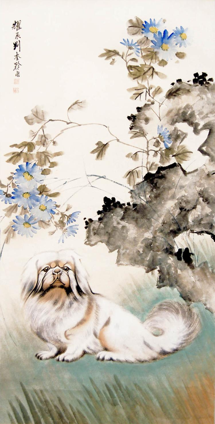 Liu Kuiling Spaniel and Rockwork 刘奎龄 (1885 - 1976) 菊石美犬图