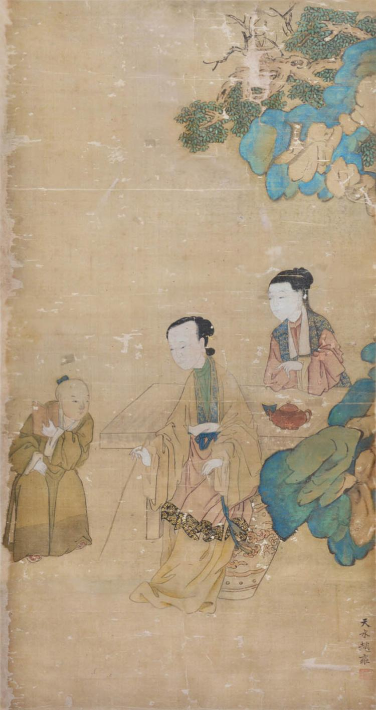 Zhao Yong Yuan Dynasty Mother Taught Her Son 元 赵雍 (生卒不祥) 孟母教子图