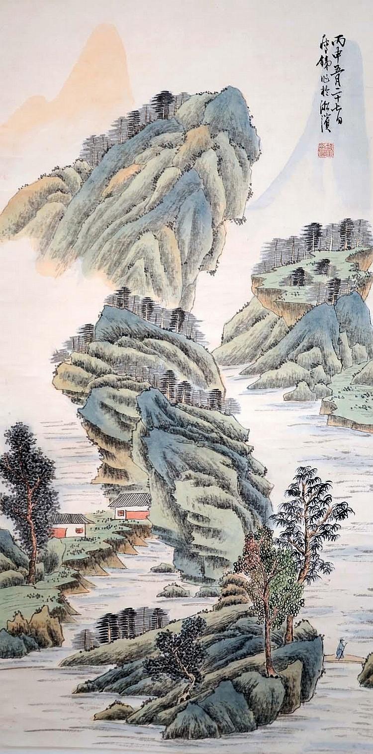 錢瘦鐵 (1897 - 1967) 山水清音 Qian Shoutie Riverside