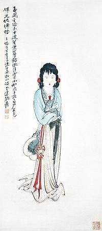 張大千 (1889 - 1983) 少女情懷總是詩 Zhang Daqian Maiden