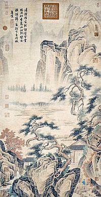 明 唐寅 (1470 - 1523) 松雲山居圖 Tang Yin Ming Dynasty Scholars in the Mountain