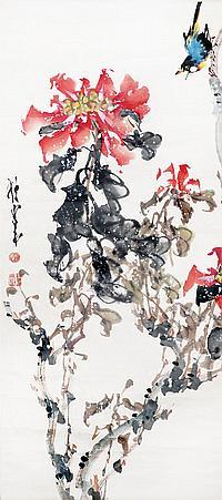 趙少昂 (1905 - 1998) 牡丹小鳥 Zhao Shaoang Bird and Peony