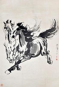 徐悲鴻 (1895 - 1953) 二駿圖 Xu Beihong Two Galloping Stallion