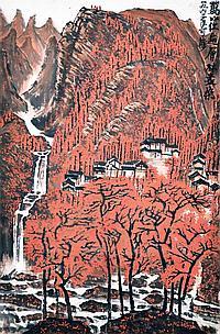 李可染 (1907 - 1989) 紅遍萬山 Li Keran Mountain Red Maple
