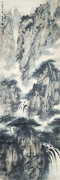 傅抱石 (1919 - 1965) 觀瀑圖 Fu Baoshi Gazing at Waterfall