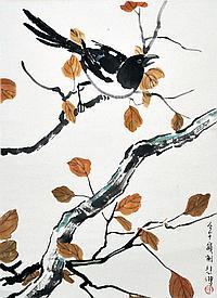 徐悲鴻 (1895 - 1953) 鵲雀圖 Xu Beihong Magpie