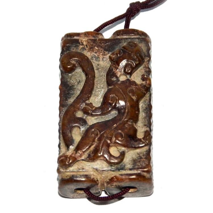 A Small Archaistic Relief Carved Qilin Twin-linked Jade Zong Pendant 小螭龙双连玉琮