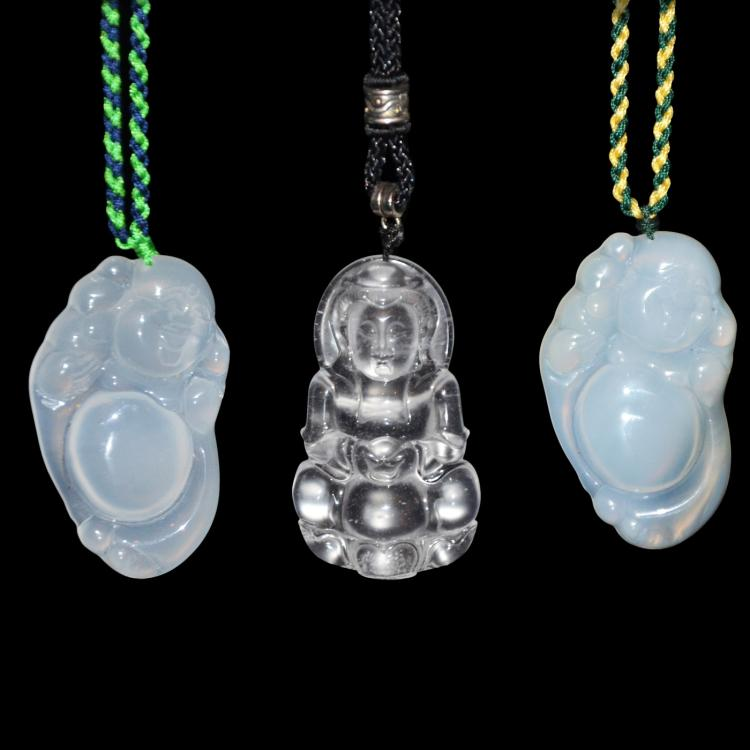Three Icy Jade Pendants Carved with Guanyin and Maitreya 玻璃种玉髓观音弥佛挂饰三件