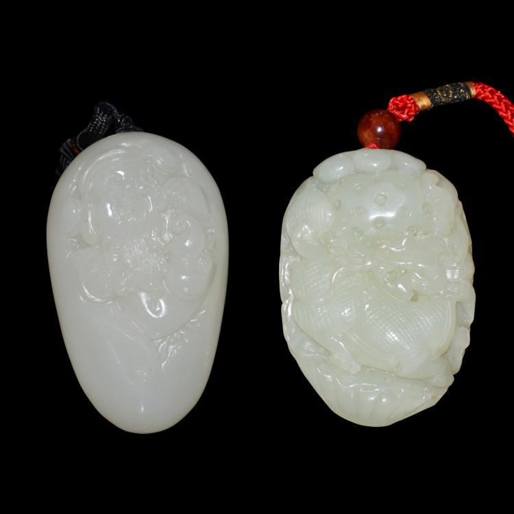 Two Hetian Jade Pebbles: God of Longevity with Fortunes, and Qilin Ruyi 和田白玉浮雕把玩两件:寿星进宝、麒麟如意