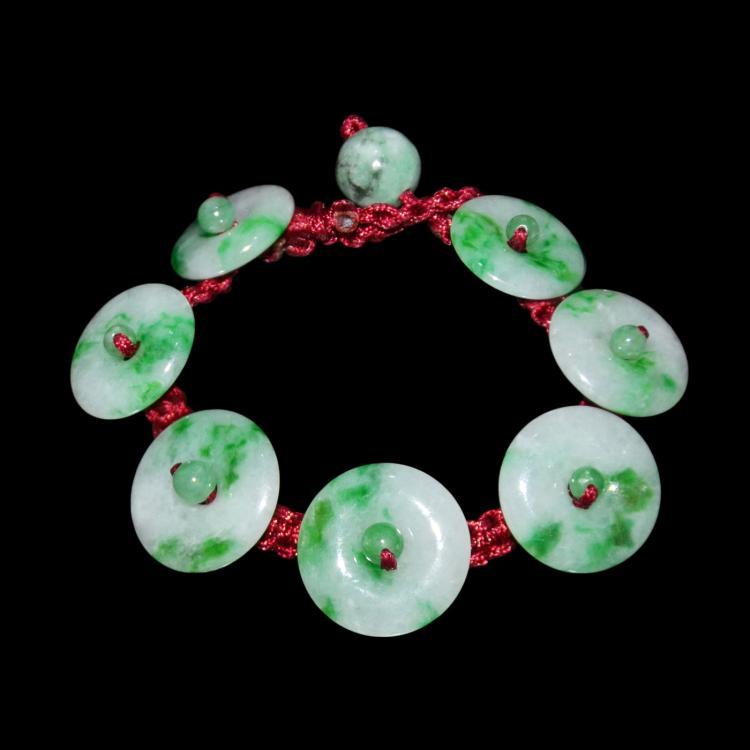 Jadeite Ring Pendant Bracelet 翡翠七圆环手镯