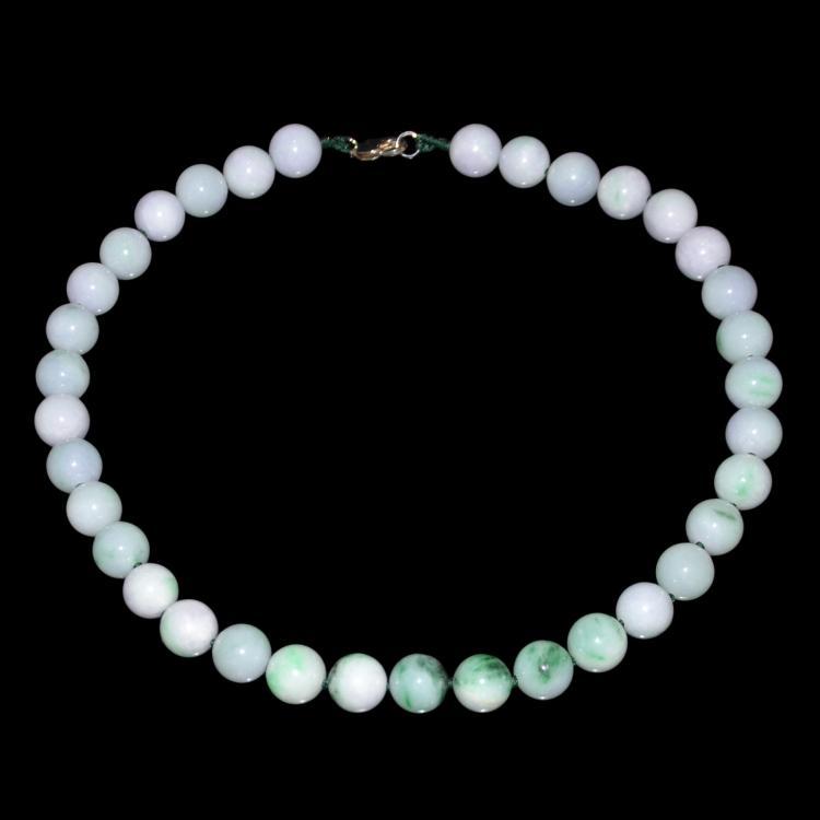 Jadeite Lavender Bead Necklace 翡翠紫罗兰35粒项链