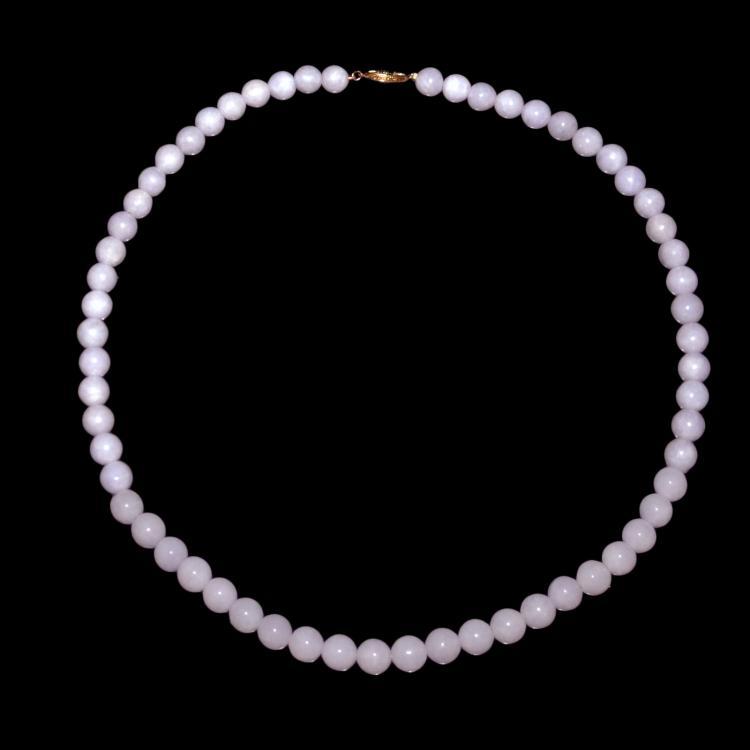 A Jadeite Lavender Bead Necklace 紫罗兰翡翠圆珠项链