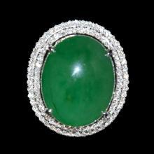 A Jadeite and Diamond Cluster Ring 翡翠白金镶钻指环