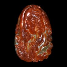 Red Jadeite Pebble Carving of General Guan with His Dragon Sword Carved on the Reverse 红翡翠关羽头像青龙执刀挂饰