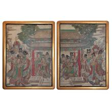 A Rare Pair of Polychrome Painted Stucco Panel of Court Musicians in Procession 天音仙女彩绘图壁画(带镜框)一对