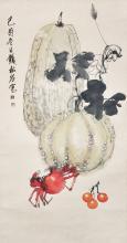 Qian Songyan Melons and Crab 钱松喦 (1899 - 1985) 瓜果蟹图