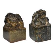 Qing, Two Shoushan Stone Square Seals with Qilin Knobs 清 寿山石麒麟钮印章一对