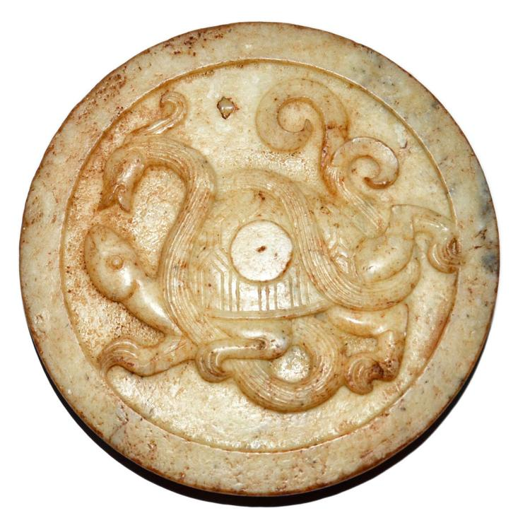 Han white jade tile relief carved with tortoise and snake