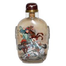 A Massive Inside Painted Glass Snuff Bottle, Ye Zhongsan 叶仲三 大铺首五彩內画关羽鼻烟壶