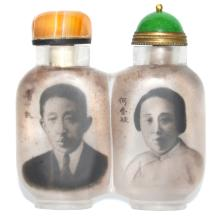 Qing, An Inside Painted Conjoined Crystal Snuff Bottle, Ma Shaoxuan 清 马少宣 1930年作 廖仲凯、何香凝肖像及题诗内画双连水晶鼻烟壶