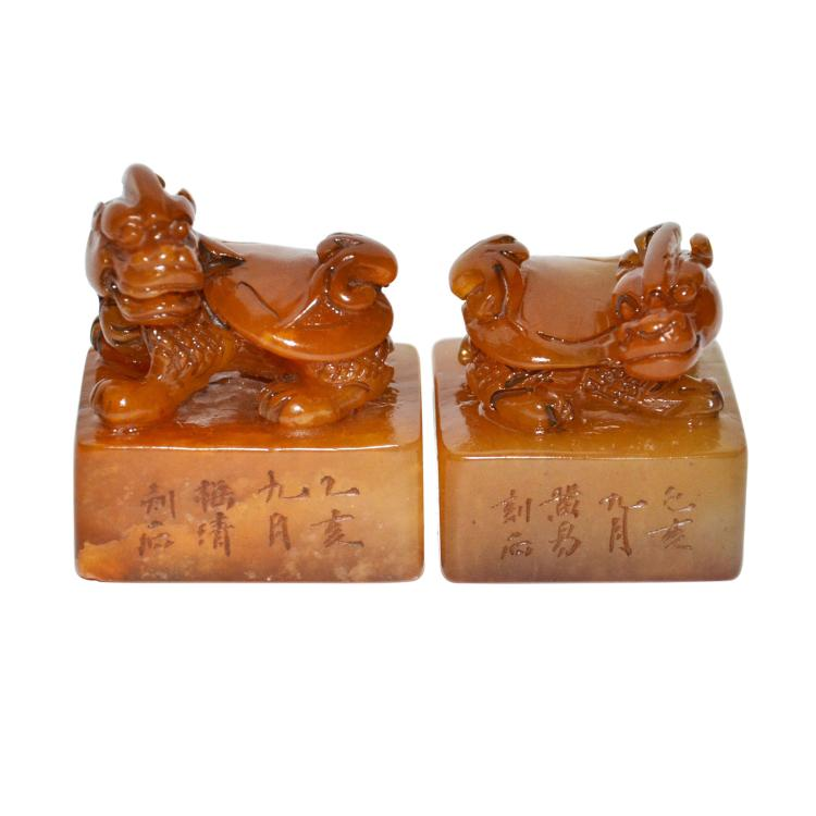 Qing Dynasty, A Pair of Tianhuang Stone Seal with Carved Bixie Knop 清 旧田黄印章辟邪钮一对