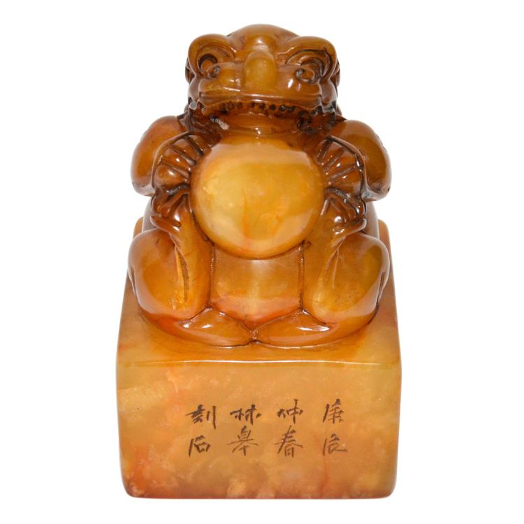 A Large Tianhuang Square Seal with Buddhist Lion Playing Ball as Knop 田黄坐狮玩球钮印章