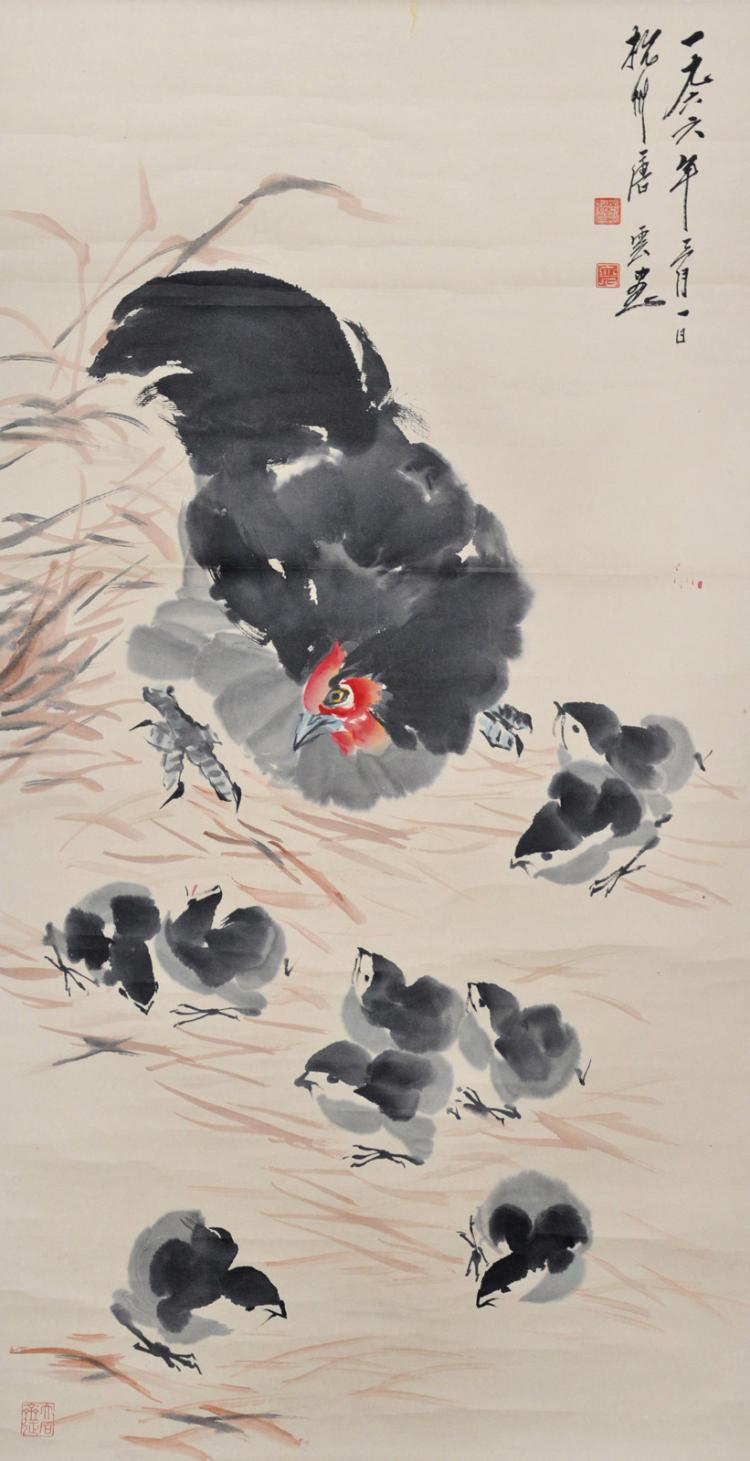 Tang Yun Chicken Family 唐云 (1910 - 1993) 九子母图