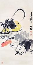 朱屺瞻 (1892 - 1996) 葡萄白菜 Zhu Qizhan Grapes and Cabbages