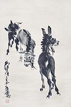 黃冑(1925 - 1997) 三驢圖    Huang Zhou  Three Mules