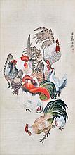 劉奎齡 (1885 - 1976) 羣雞圖  Liu Kuiling  Rooster