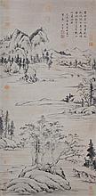 明 董其昌 (1556 - 1636) 楚水吳山圖軸  Dong Qichang  Ming Dynasty Landscape of the Yangtze River Downstream