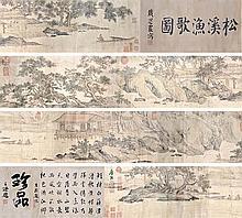 明 唐寅 (1470 - 1523) 松溪漁歌圖 Tang Yin   Ming Dynasty Fishing Village in the Shade of Pines