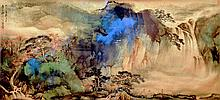 張大千 (1899 - 1983) 高士觀瀑圖 Zhang Daqian Waterfall