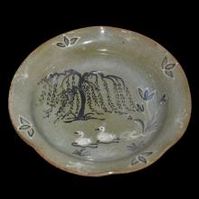 Korea, 19th C. Celadon-Glazed Shallow Dish Painted Inside and Outside with Floral and Ducks under Willow