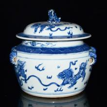 Korea, Blue and White Jar with Buddhist Lions Playing Balls with Four Applied Elephant Ears Handles