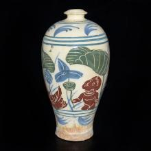Korea,  Joseon Dynasty, Meiping Vase with Overglaze Painted Lotus-Pond, Boy and Ducks