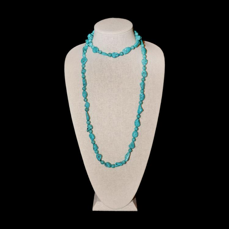 Antique Natural Turquoise Bead Necklace