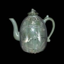 Korea, 19th C. Celadon-glazed Melon-shaped Eight Facets with Two Windows Crane and Floral Wine Ewer with Loop Handle