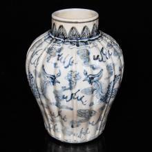 A Korean Joseon Dynasty 15th C. Blue and White Phoenix Jar  圆口,短颈,熘肩,腹部渐收,通体 象牙白釉,釉面肥厚、莹润。以青花为饰,所用青料发色青澹,部分发闷,表现出李朝鲜明的民族特色,风格符合此时特徵。