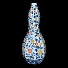 Korean 18th C. Blue and White Wucai Octogonal Floral Gourd Vase 韩国 十八世纪 五彩花卉八棱葫芦瓶