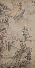 明 項聖謨(1597 - 1658)草堂研讀圖 Xiang Shengmo Ming Dynasty  Scholars in the Mountain
