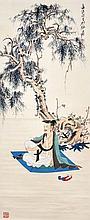 張大千(1899 - 1983)孫位神遊圖 Zhang Daqian  Sun Wei Restingunder Tree