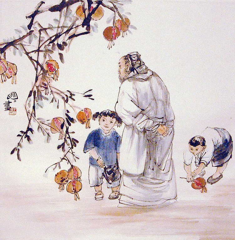 Wang Mingming (1952 - ) 王 明 明 Under the Pomegranate Tree  空 對 石 榴 嘆 息 時