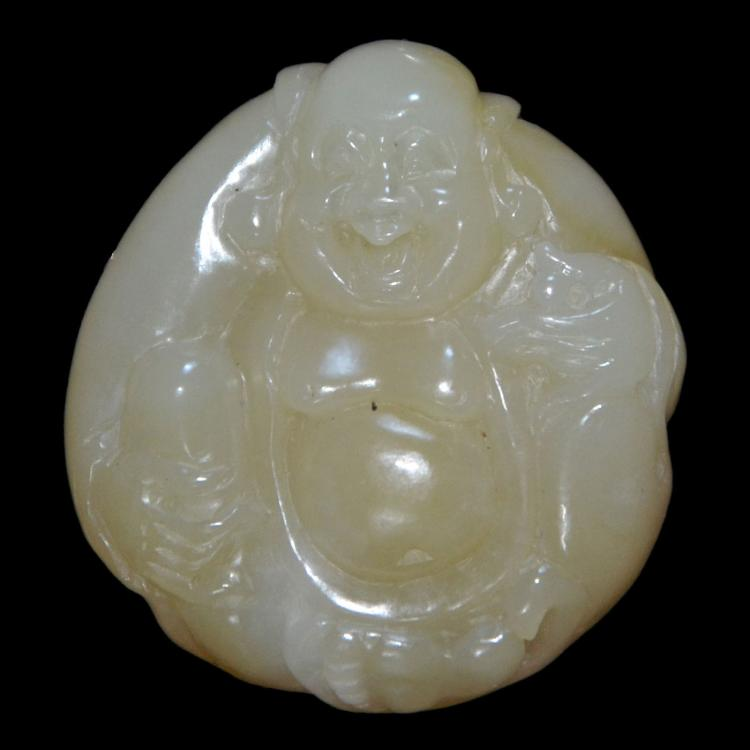 和田糖白玉雕弥佛挂坠 A Fine Brown and White Jade Maitreya Pendant