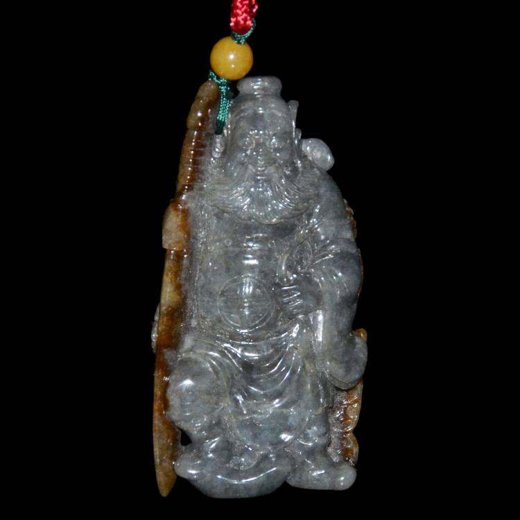 翡翠钟馗辟邪挂饰 Jadeite Pendant of Gray and Brown Carved in the Figure of Zhong Kui