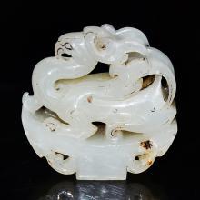 汉 白玉雕凤凰掛饰 Han, A White Jade Phoenix Pendant