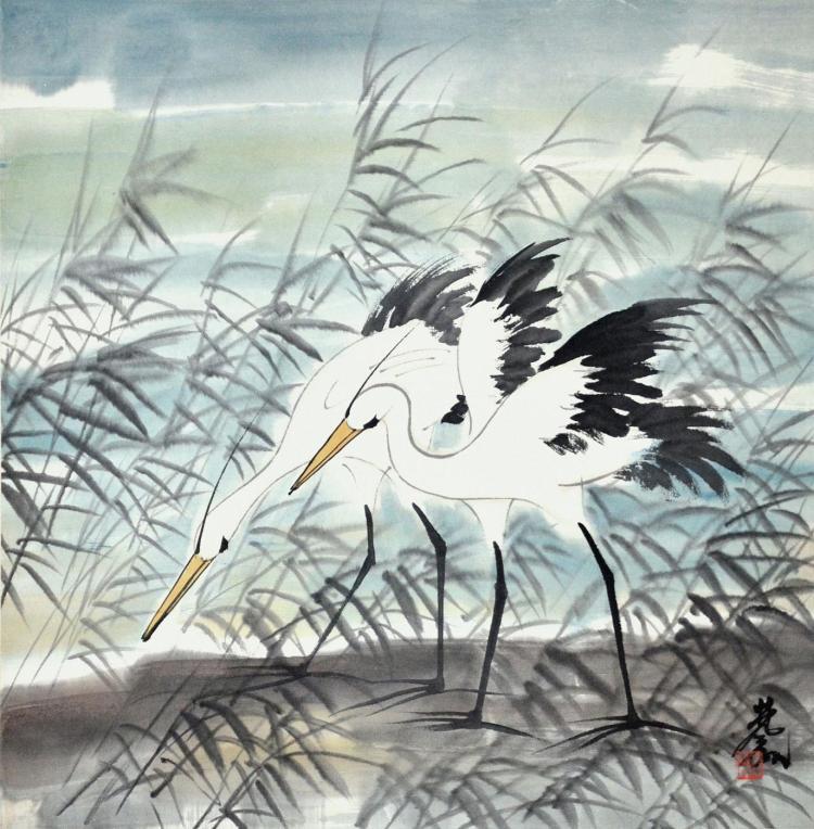 林风眠 (1900 - 1991) 芦岸双鹤图 Lin Fengmian Cranes