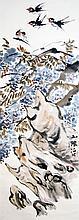 清 任颐(伯年) (1840 - 1896) 紫藤燕子 Ren Yi (Bonian) Qing Dynasty Swallows and Wisteria